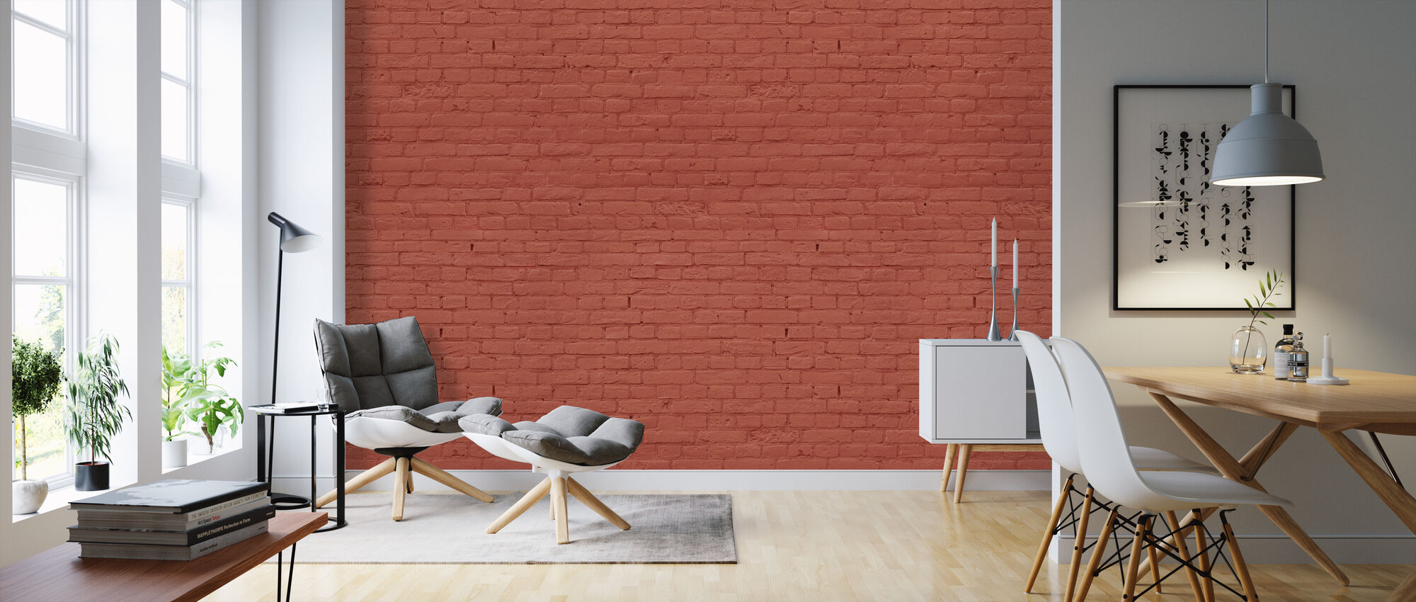 Red Colored Brick Wall - Wallpaper - Living Room