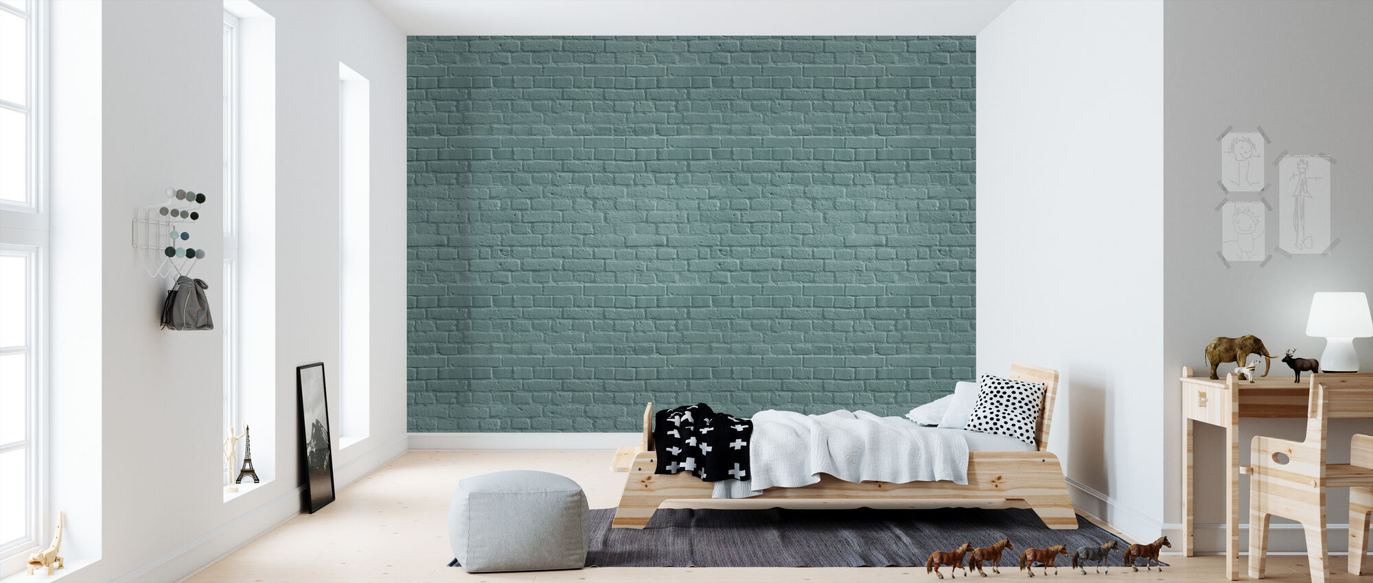 Turquoise Colored Brick Wall - Wallpaper - Kids Room