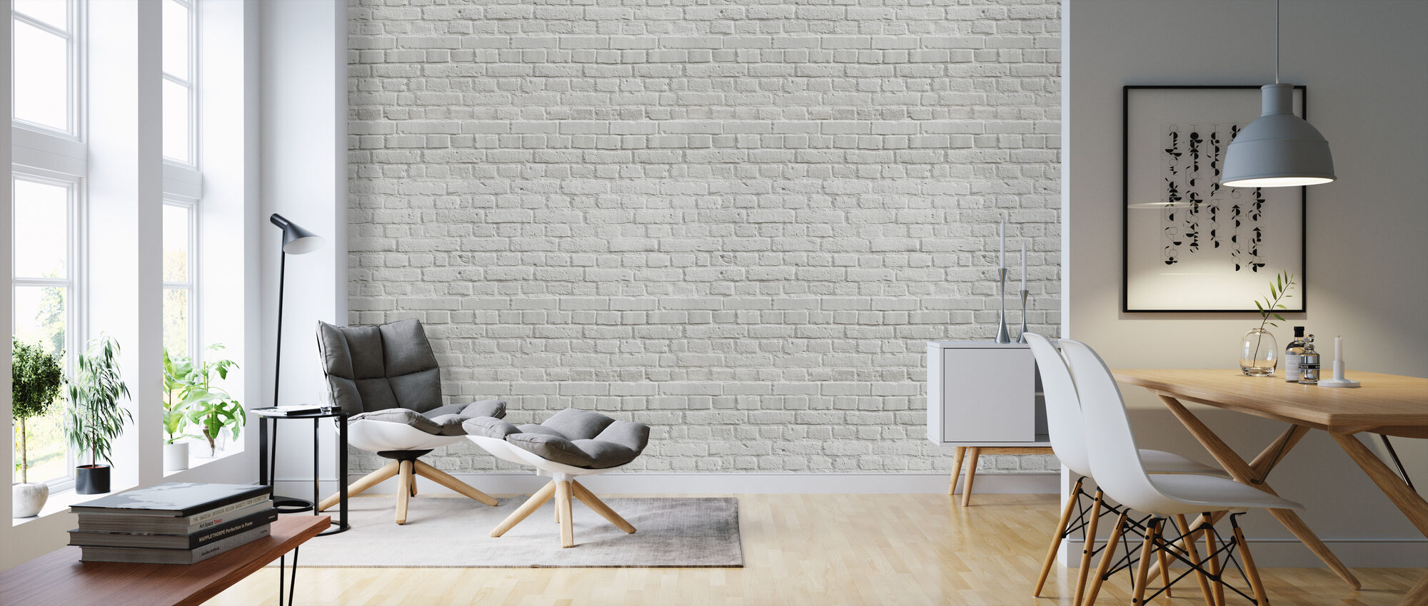 White Colored Brick Wall - Wallpaper - Living Room