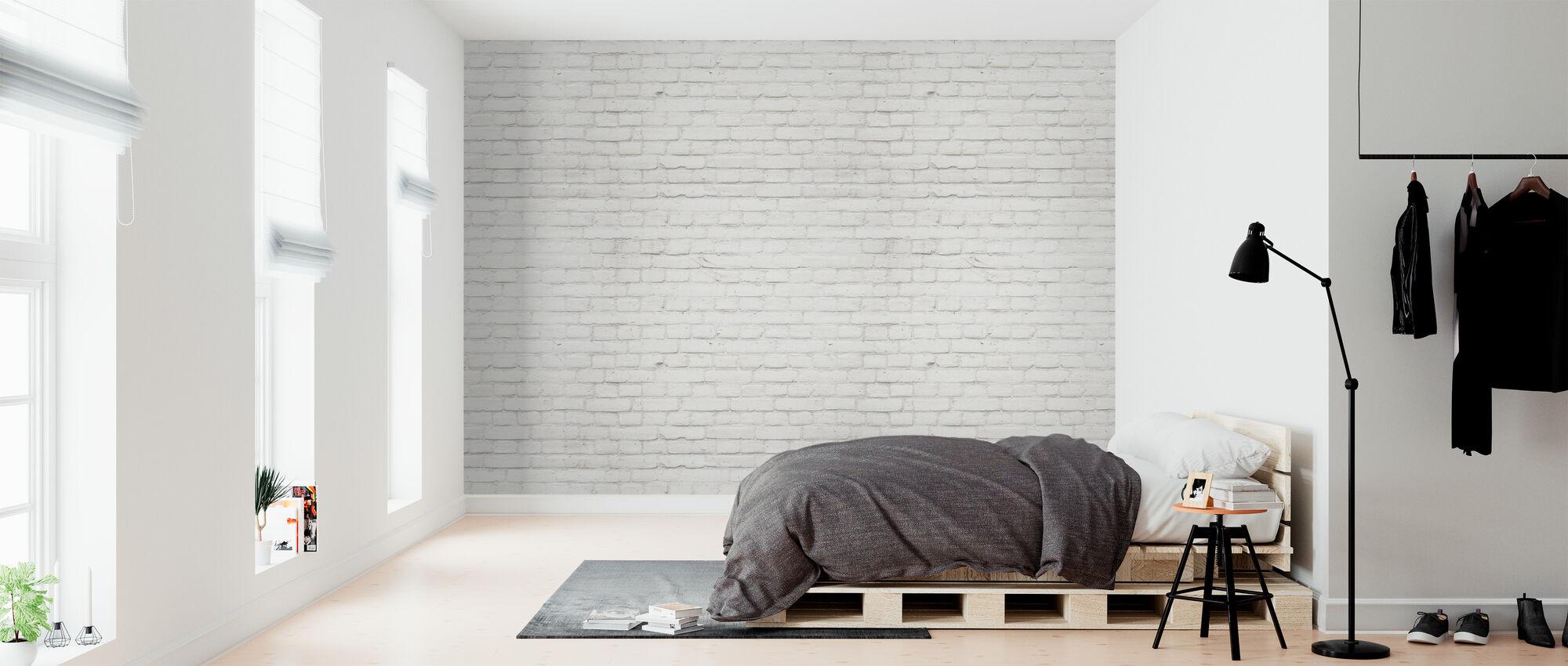 Biały zakurzony mur z cegły - Tapeta - Sypialnia