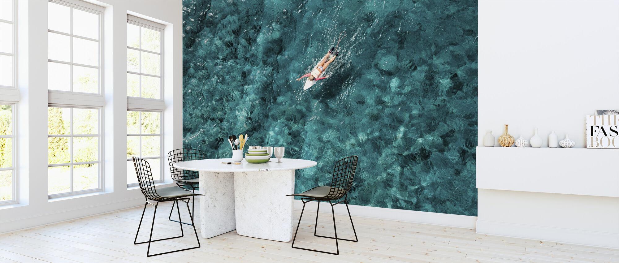 Surf Paddeln im Meer - Tapete - Küchen