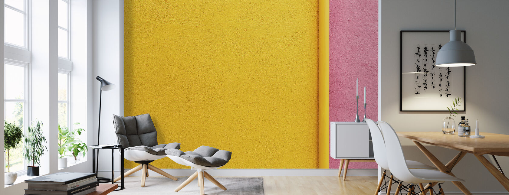 Yellow and Pink Wall with Pipe - Wallpaper - Living Room