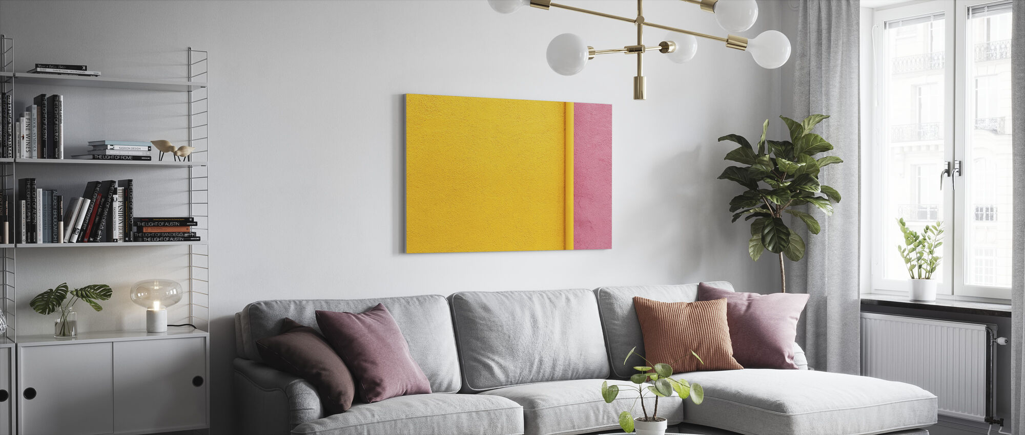 Yellow and Pink Wall with Pipe - Canvas print - Living Room