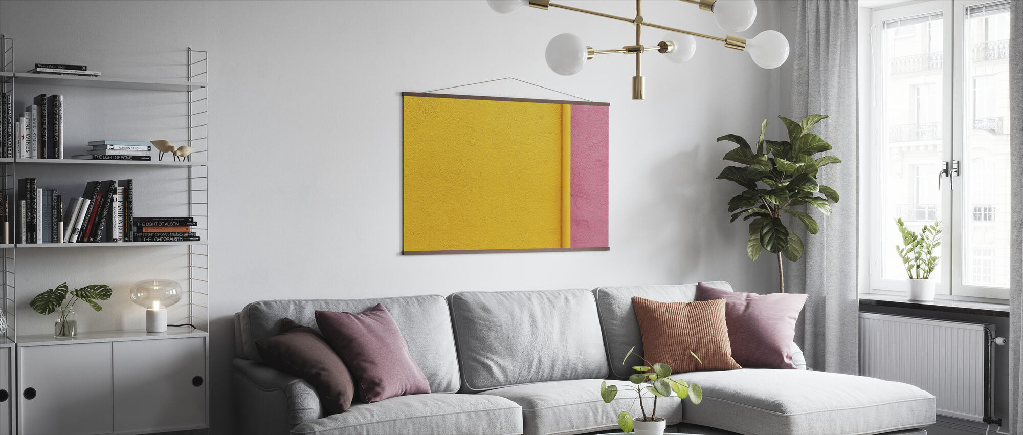 Yellow and Pink Wall with Pipe - Poster - Living Room