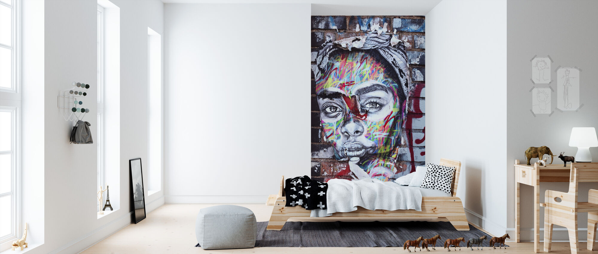 Street Art Portrait - Wallpaper - Kids Room