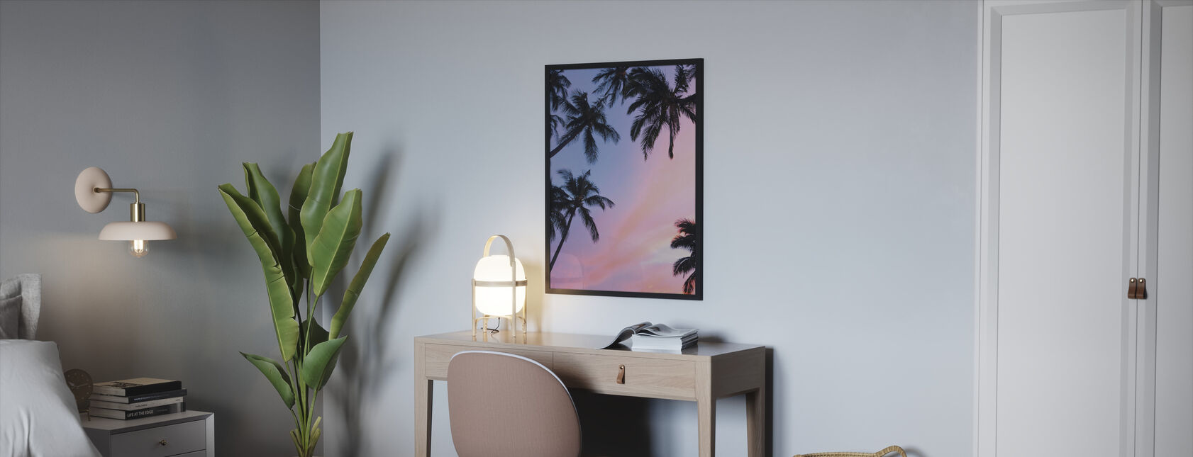 Palm Tree and Colorful Sky - Framed print - Bedroom