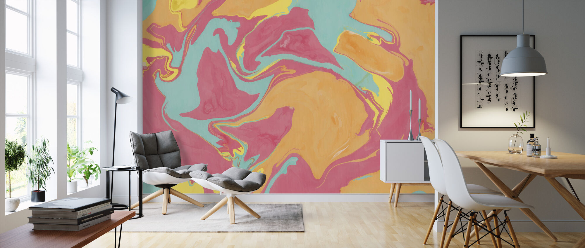 Abstract Marble Paint II - Wallpaper - Living Room