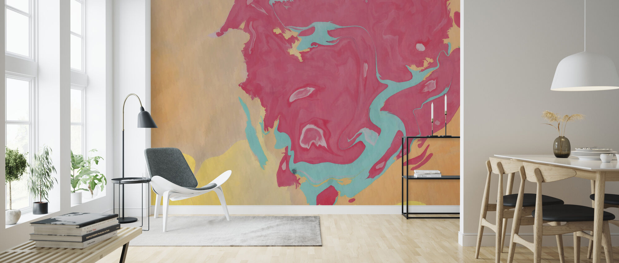 Abstract Marble Paint V - Wallpaper - Living Room