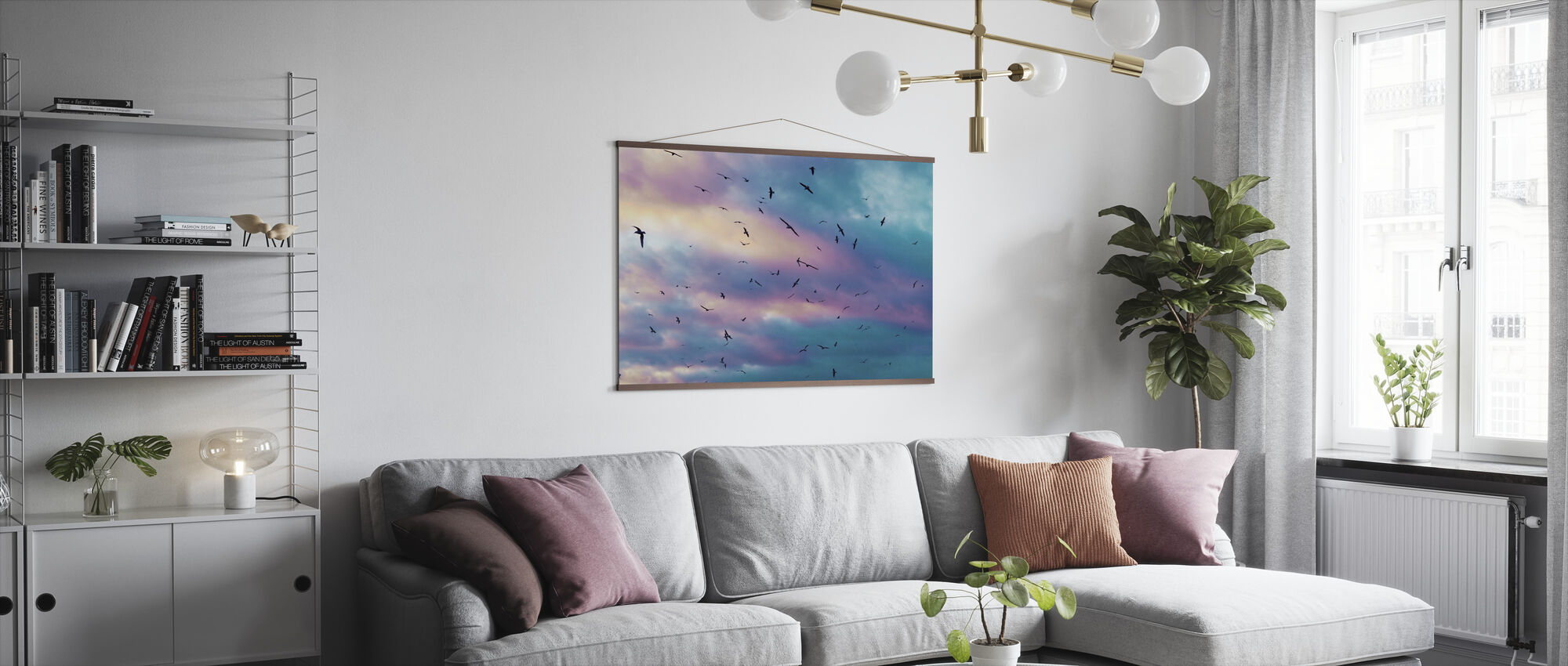 Birds in Colorful Sky - Poster - Living Room