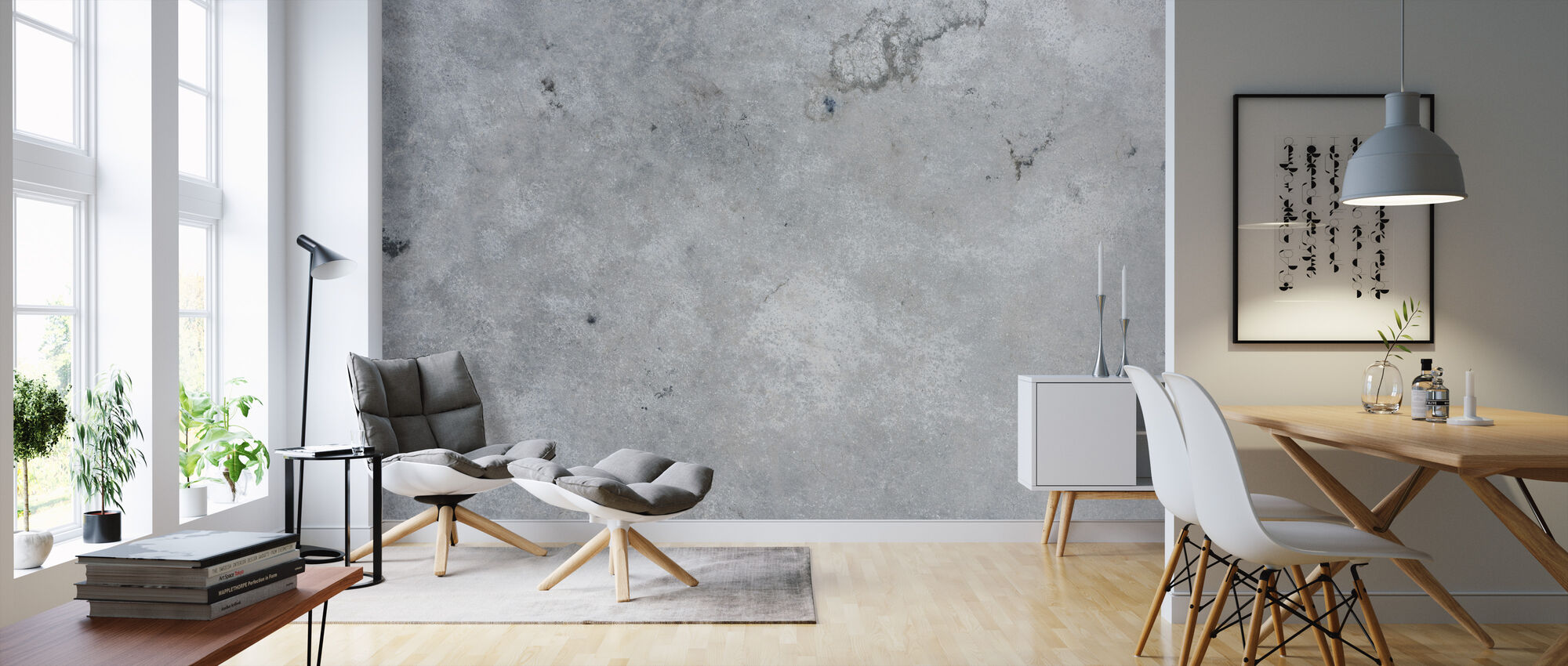 Bleached Concrete Wall - Wallpaper - Living Room