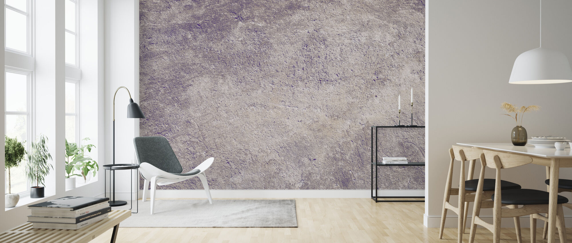 Lilac Colored Concrete Wall - Wallpaper - Living Room