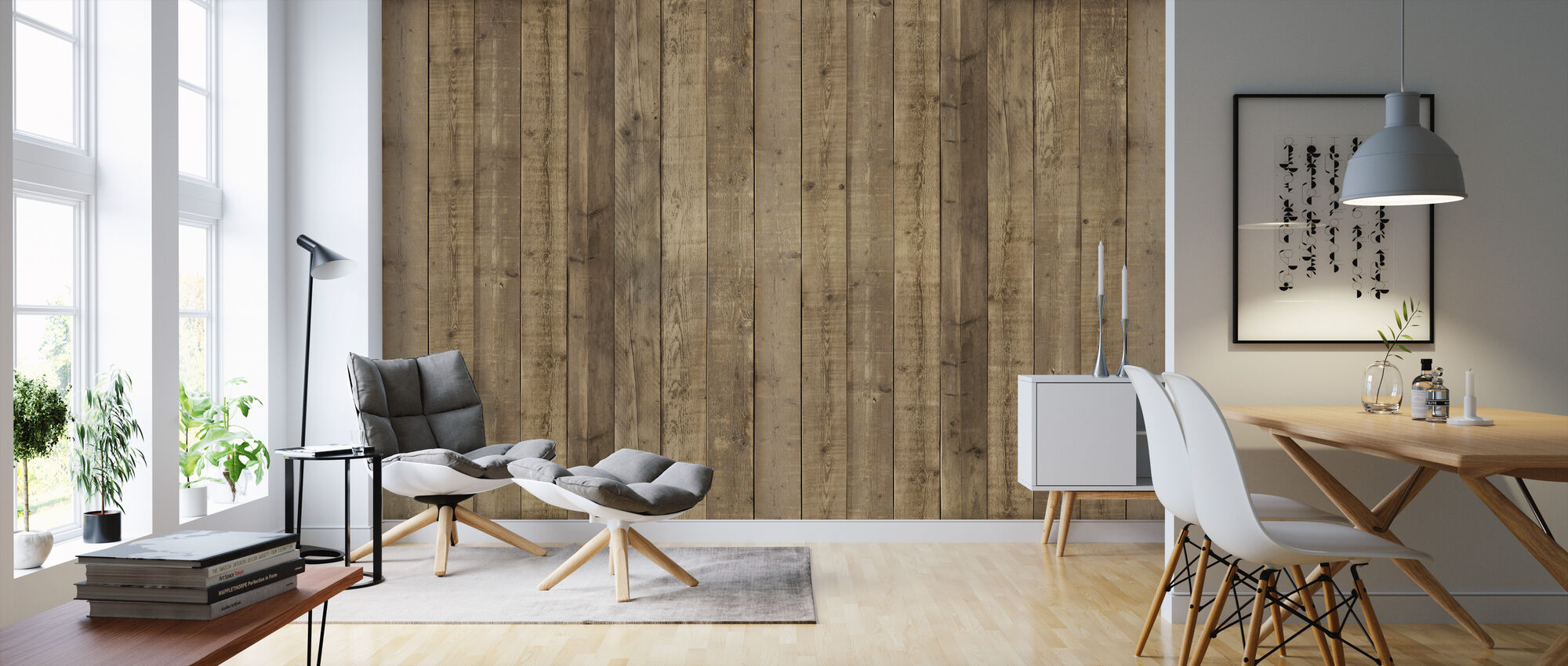 Plank Wall - Wallpaper - Living Room