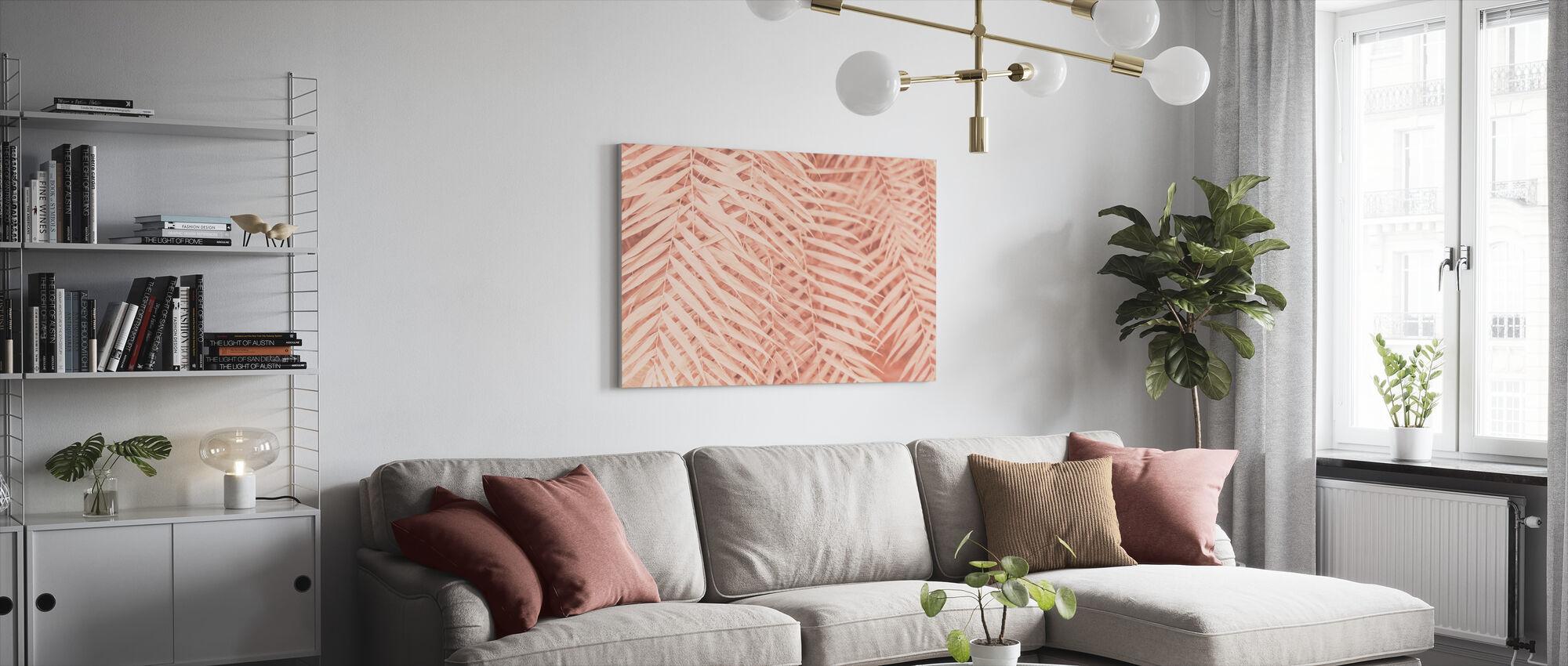 Sävyiset trooppiset palmunlehdet - Canvastaulu - Olohuone