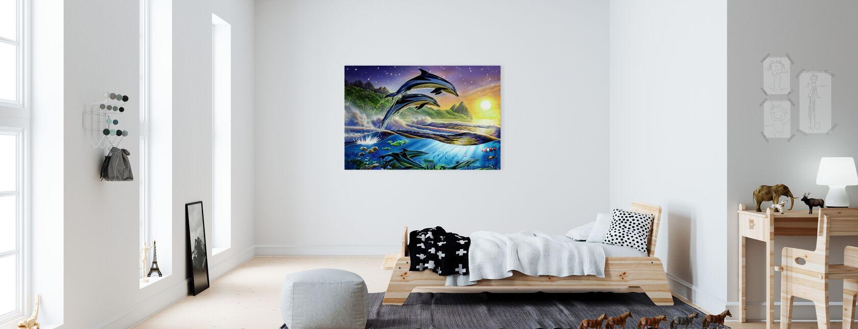 Atlantin delfiinit - Canvastaulu - Lastenhuone