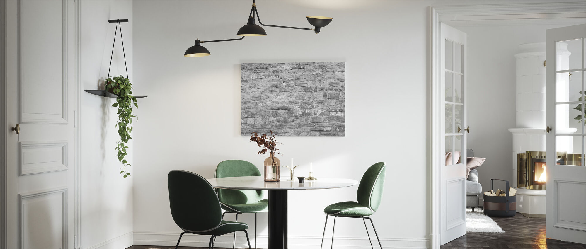 Bedekte bakstenen muur - Canvas print - Keuken