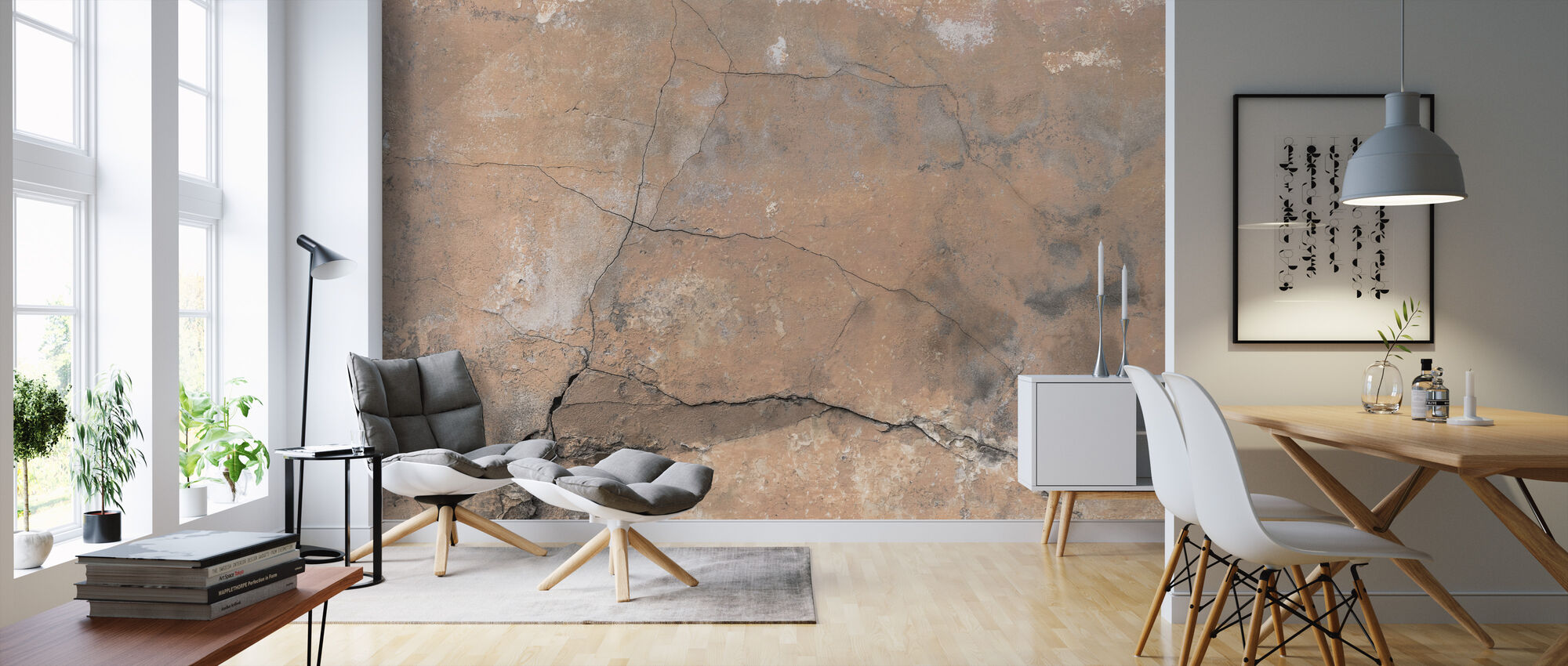Cracked Stone Wall - Wallpaper - Living Room