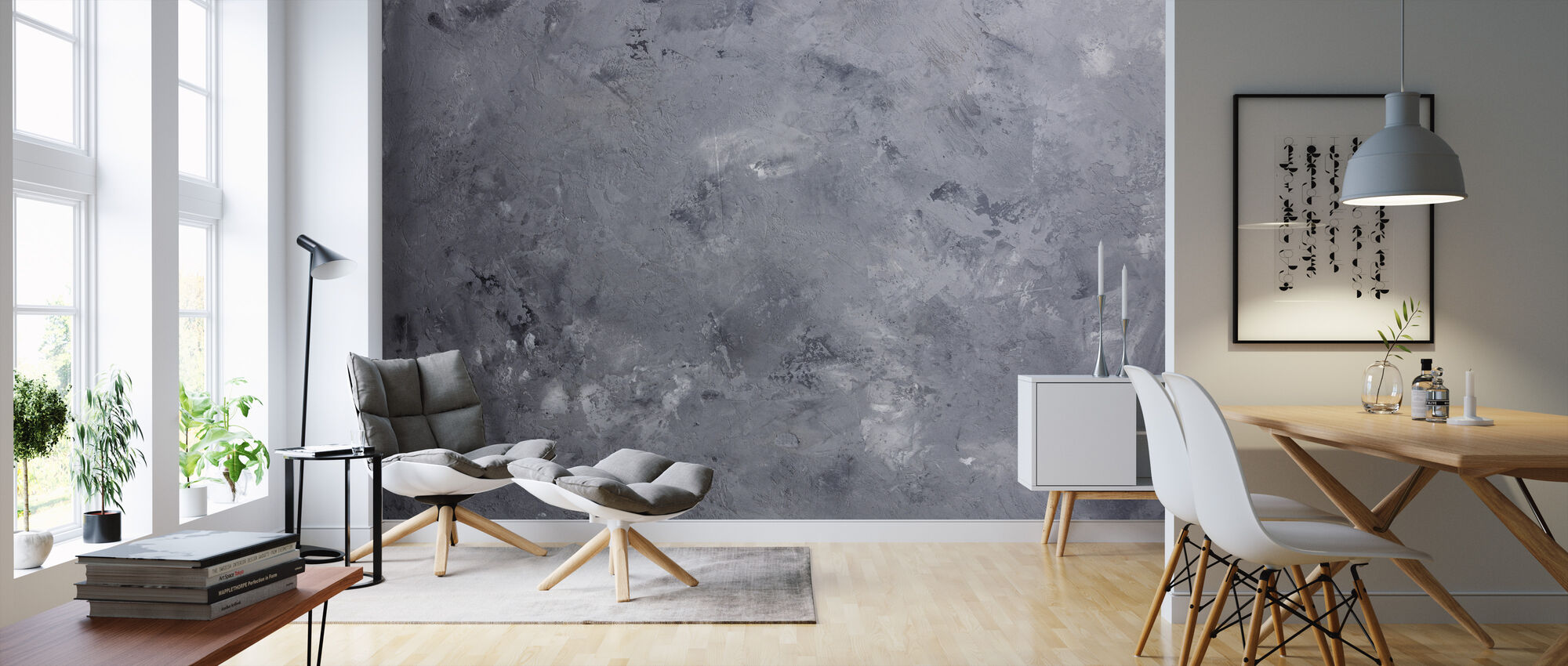 Gray Concrete Wall - Wallpaper - Living Room