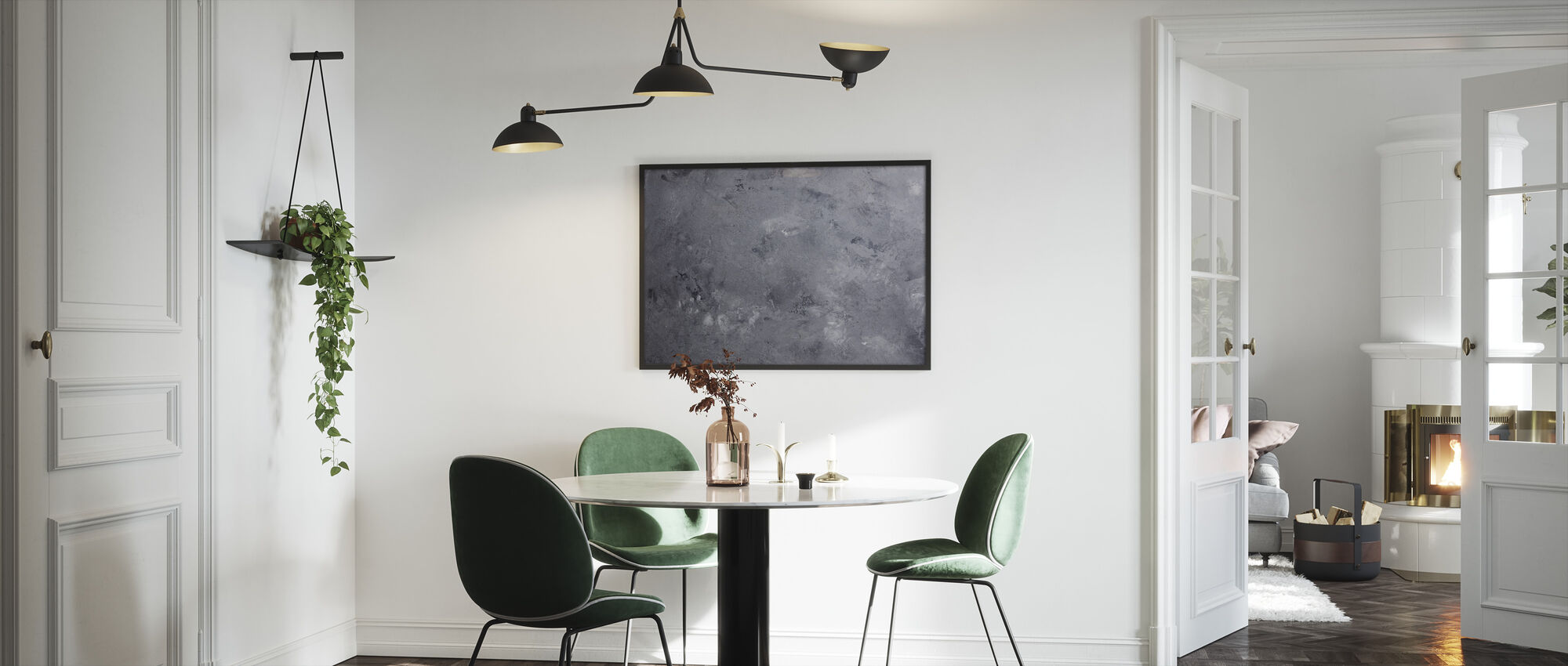 Gray Concrete Wall - Framed print - Kitchen