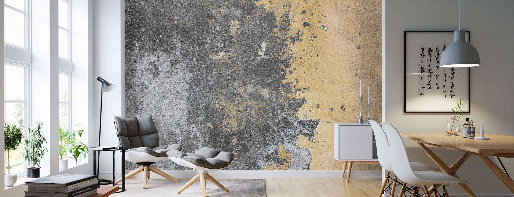 Grunge and Peeling Wall - Wallpaper - Living Room