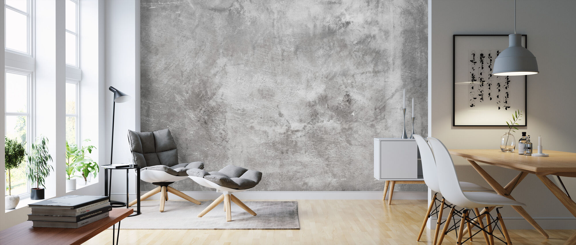Grungy Rough Concrete Wall - Wallpaper - Living Room