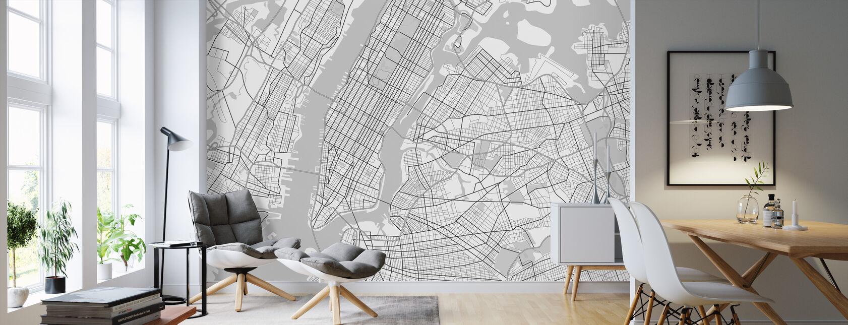 New York Kartta BW - Tapetti - Olohuone