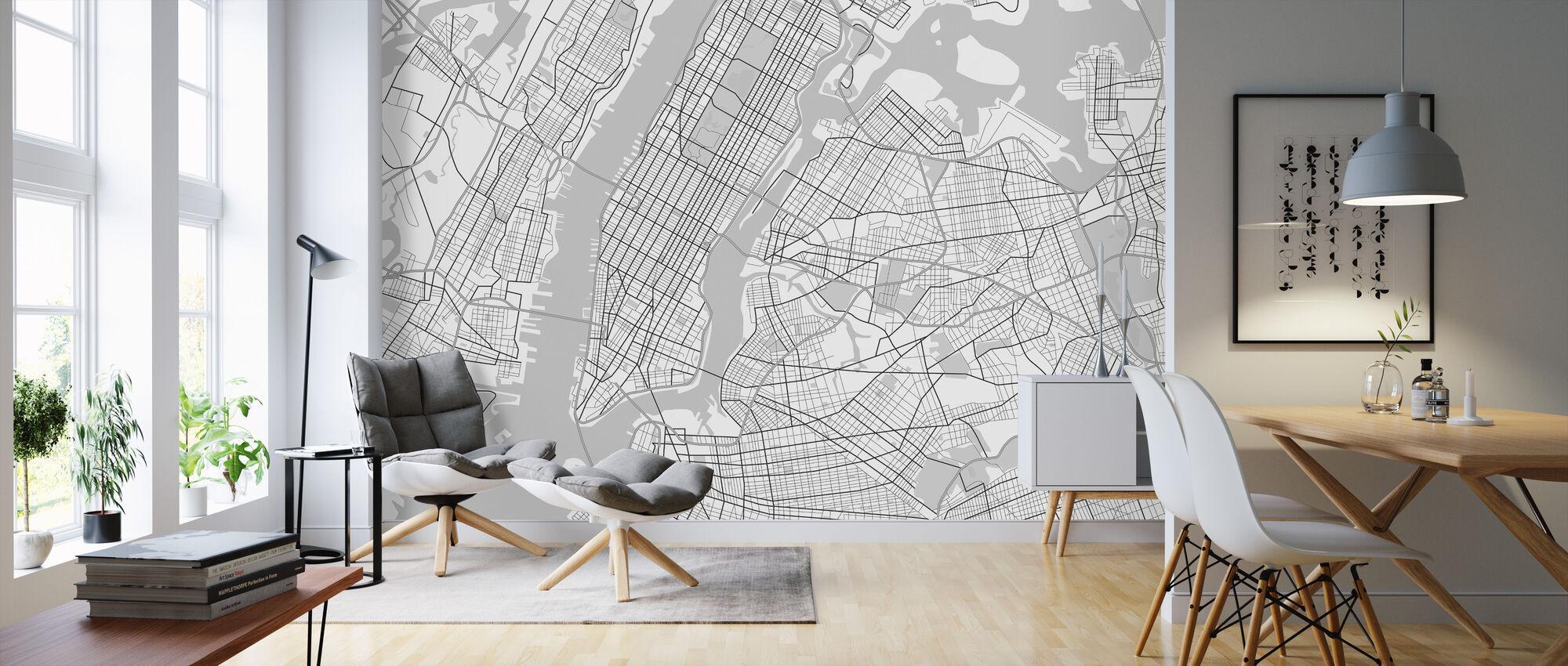 New York Map BW - Wallpaper - Living Room