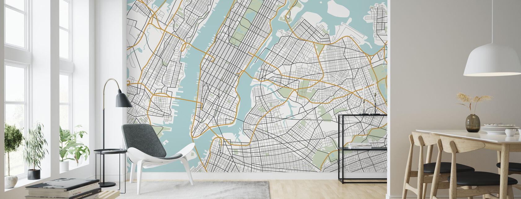 New York Map - Wallpaper - Living Room