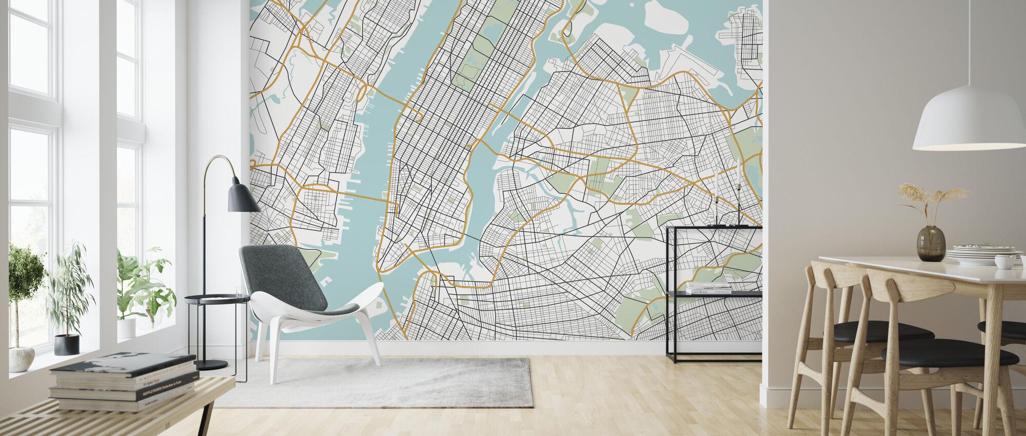 New York Karta - Tapet - Vardagsrum