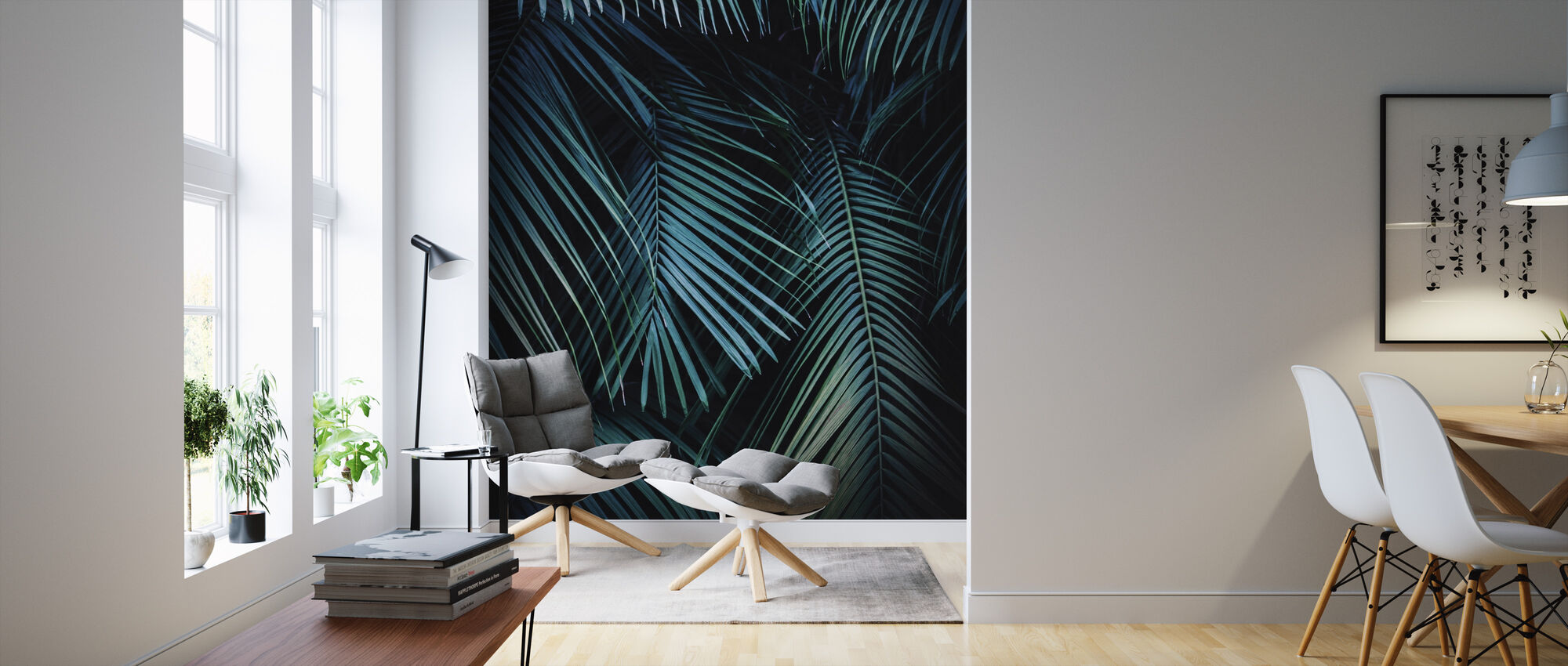 Palm Leaves in the Night - Wallpaper - Living Room