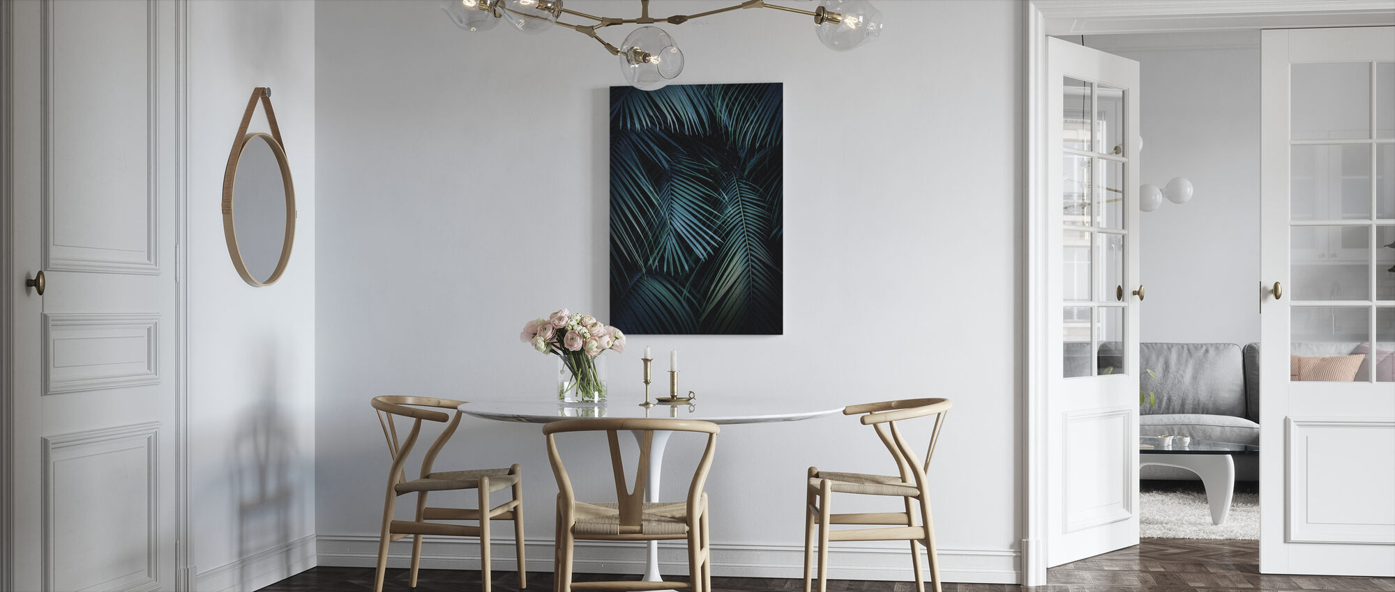 Palm Leaves in the Night - Canvas print - Kitchen