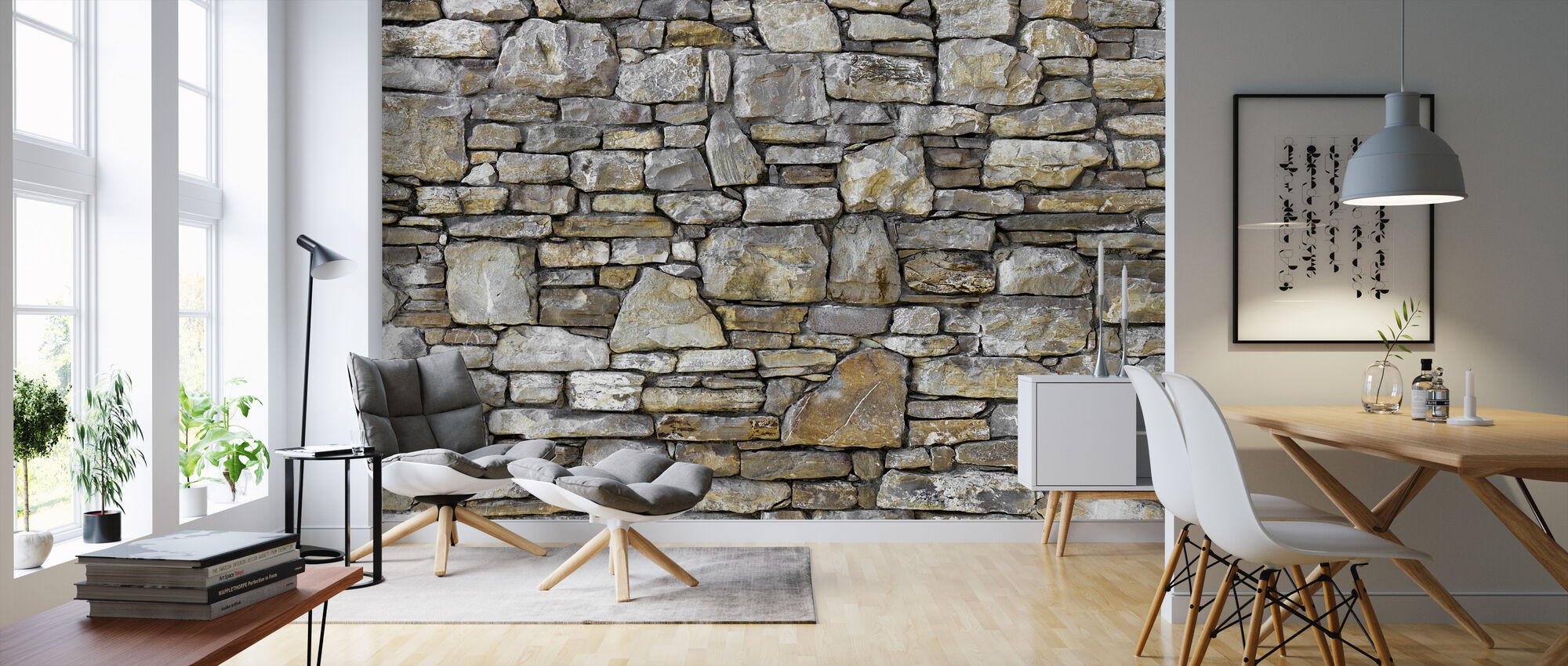Rustic Stone Wall - Wallpaper - Living Room