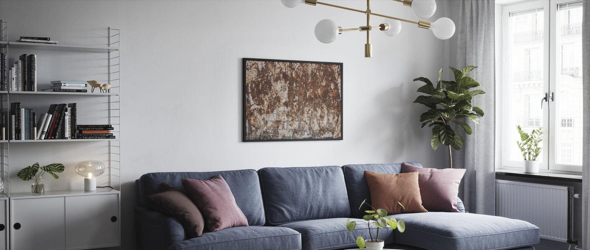 Ruosteinen seinä - Kehystetty kuva - Olohuone