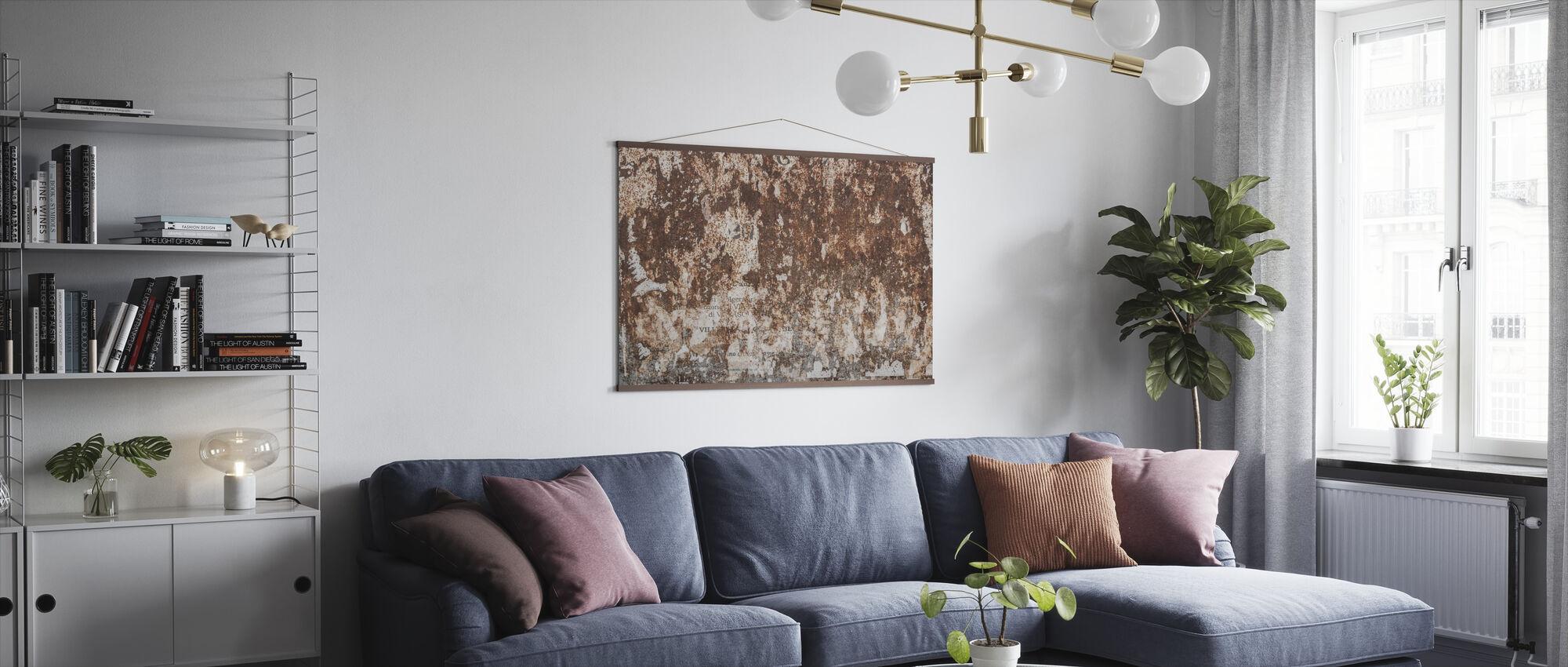 Roestige muur - Poster - Woonkamer