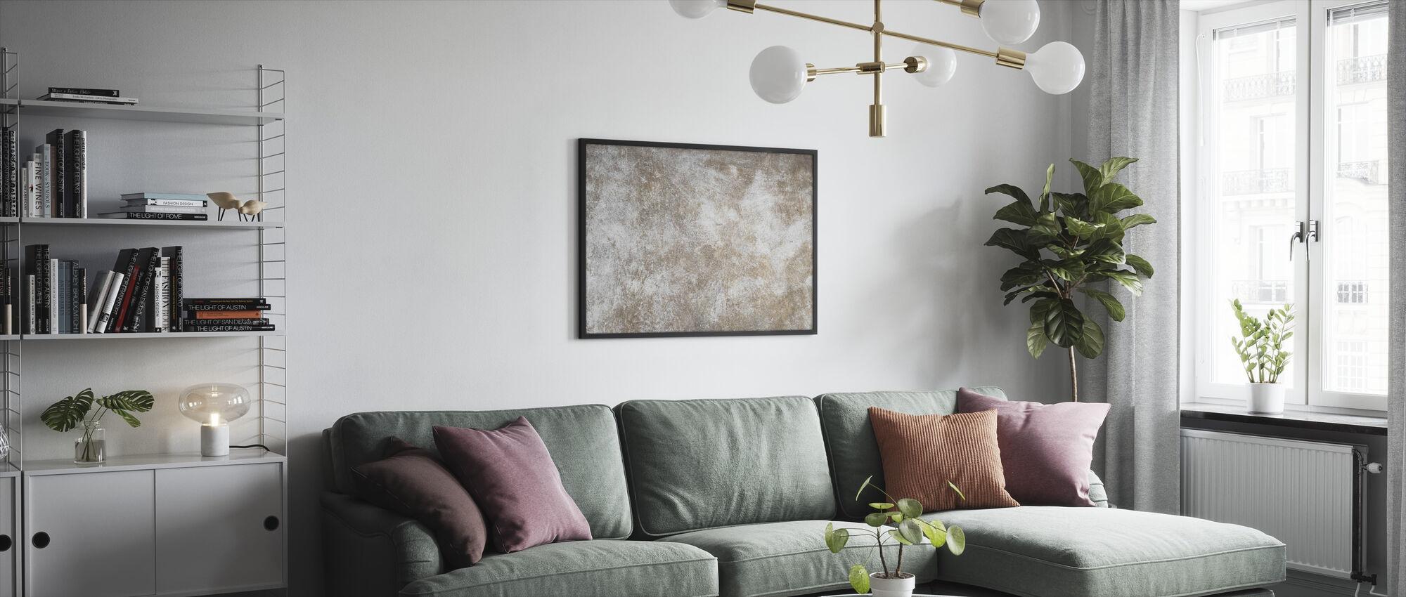 Gekrast bruine muur - Ingelijste print - Woonkamer
