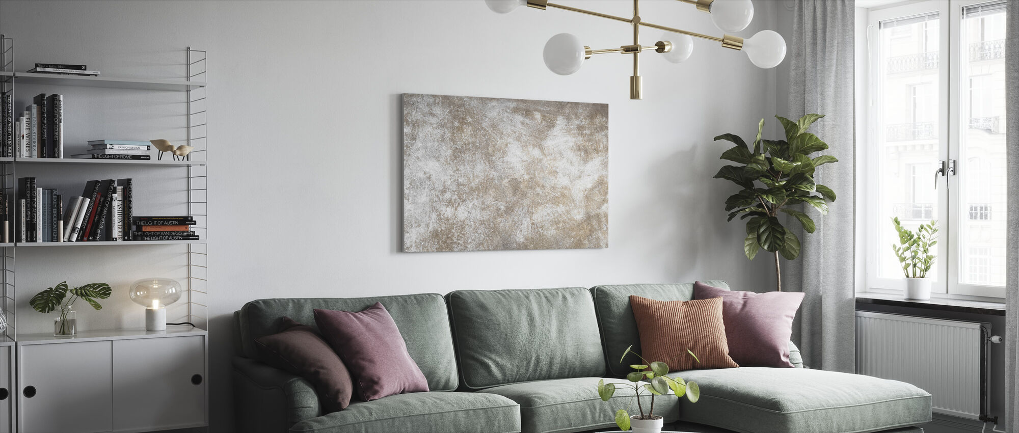 Scratched Brown Wall - Canvas print - Living Room