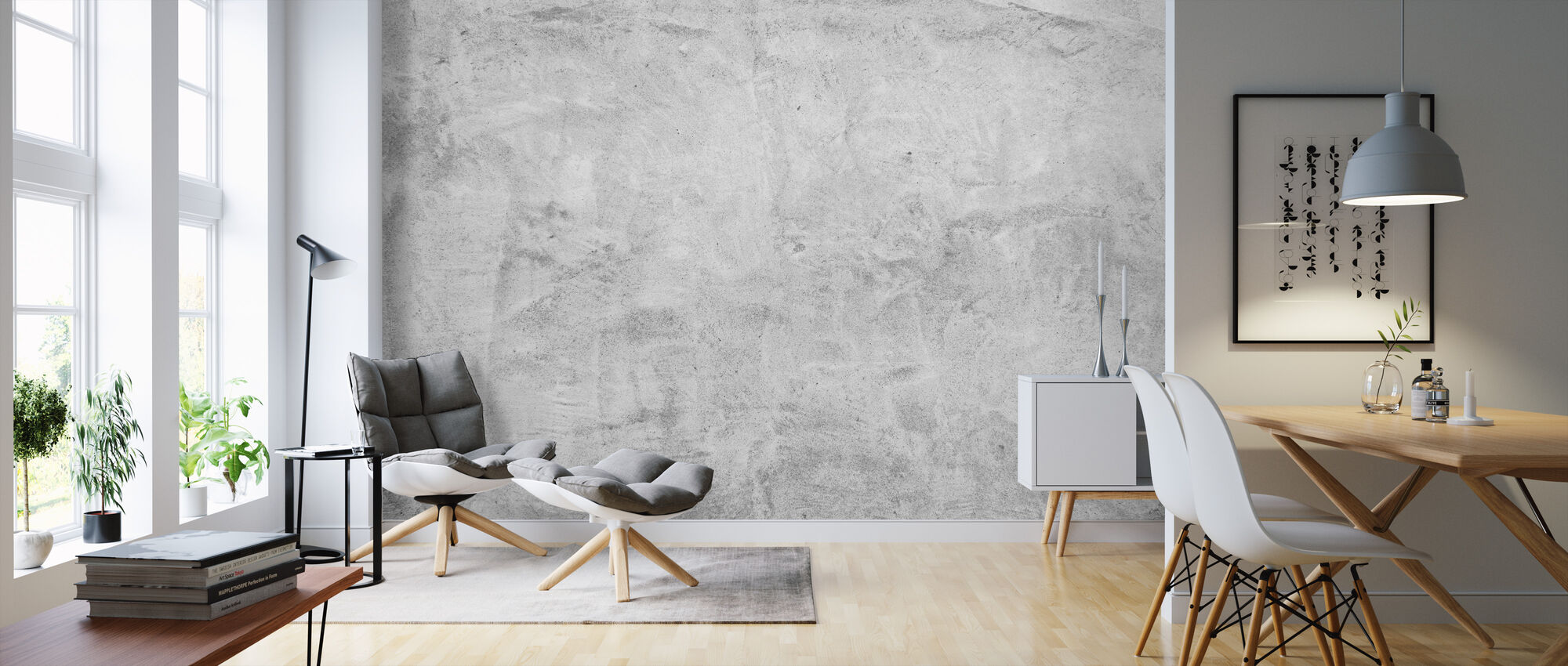 Scrubbed Concrete Wall - Wallpaper - Living Room
