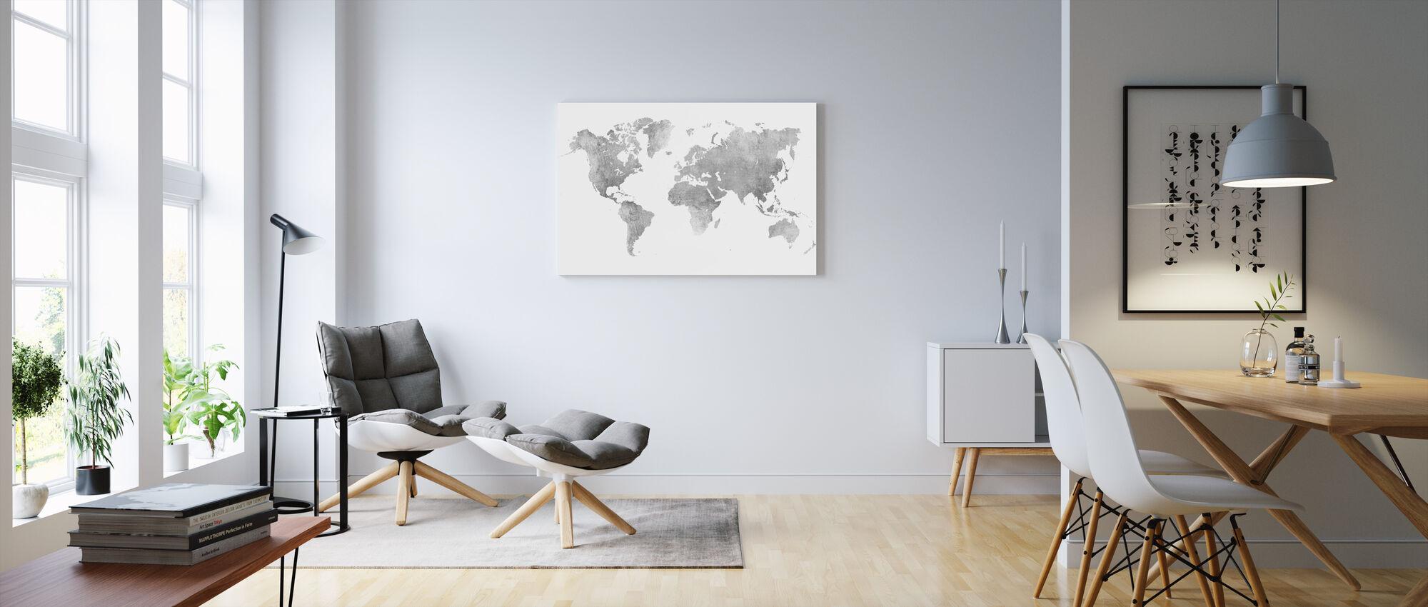 World Map Brushed Metal II - Canvas print - Living Room