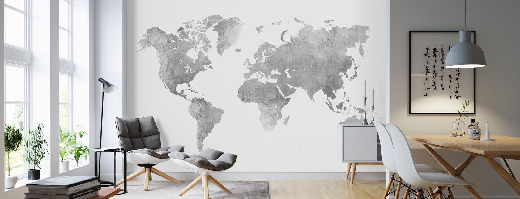 Mapa del mundo Metal cepillado II - Papel pintado - Salón