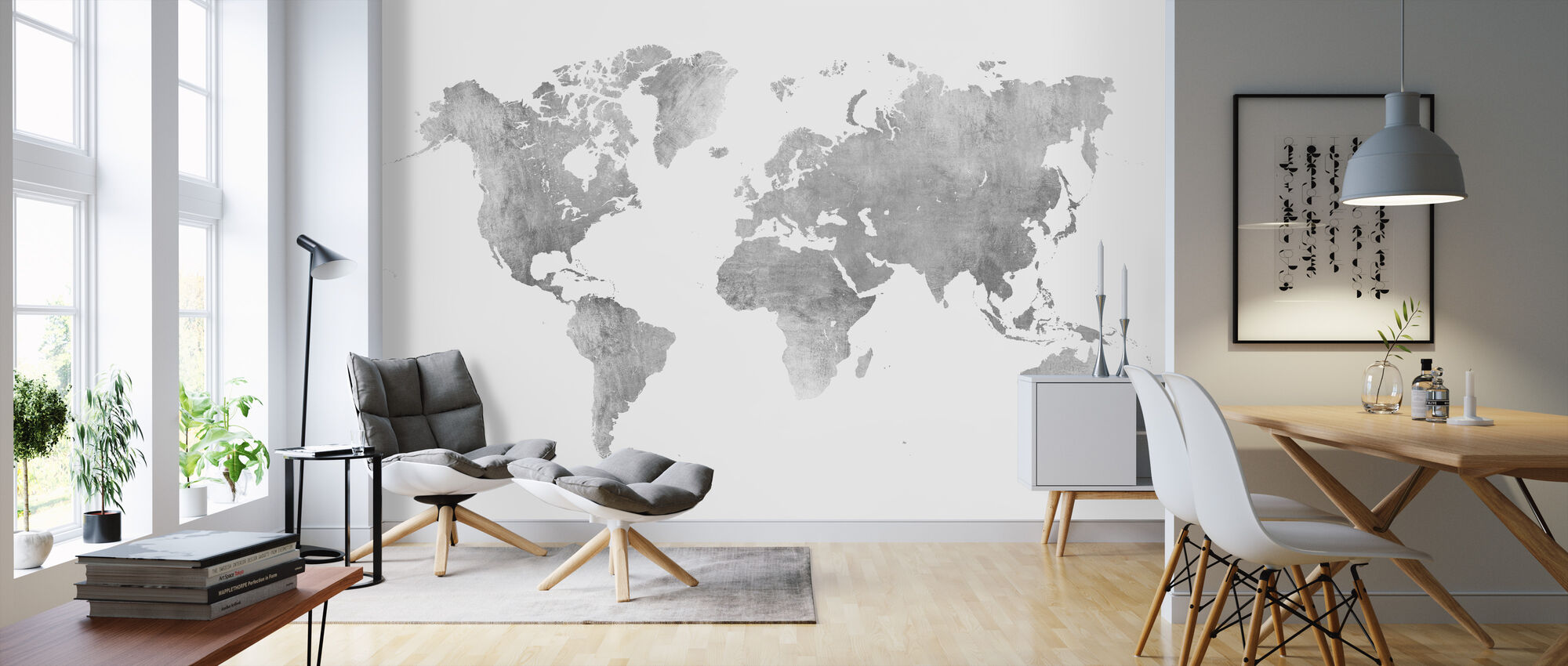 World Map Brushed Metal II - Wallpaper - Living Room