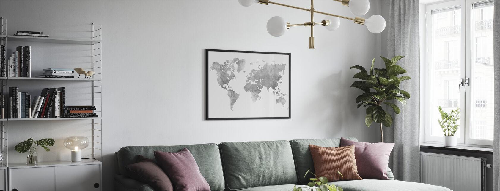 Mapa del mundo Metal cepillado II - Print enmarcado - Salón