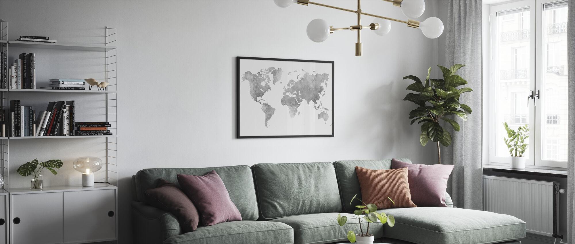 Världskarta Borstad Metal II - Inramad tavla - Vardagsrum