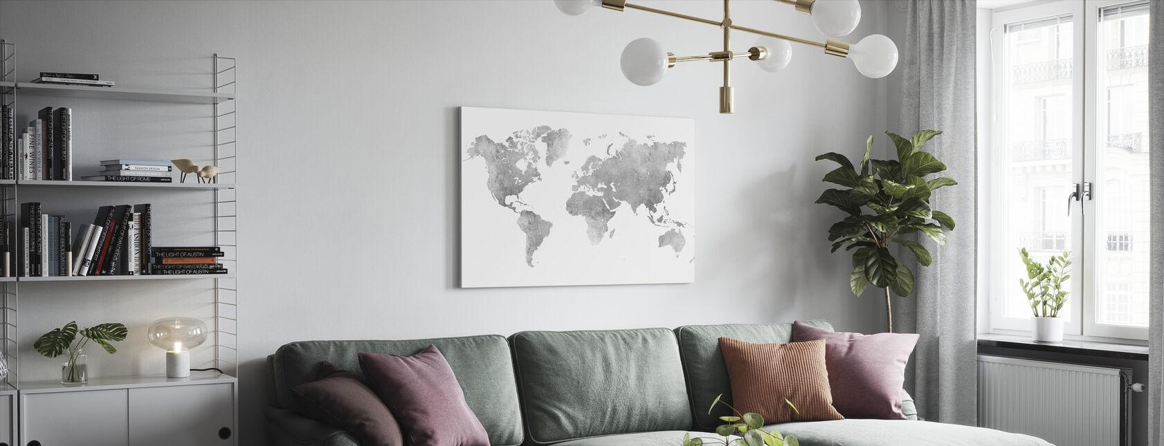 Mapa świata Szczotkowany Metal II - Obraz na płótnie - Pokój dzienny