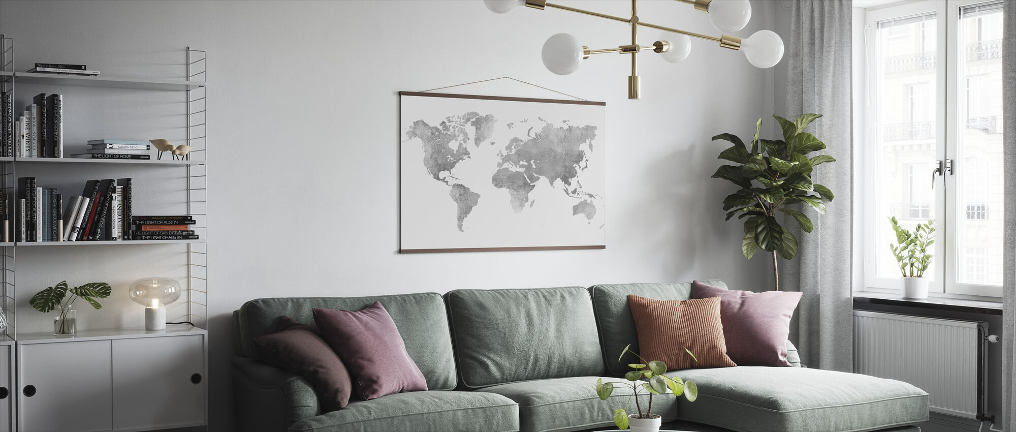World Map Brushed Metal II - Poster - Living Room