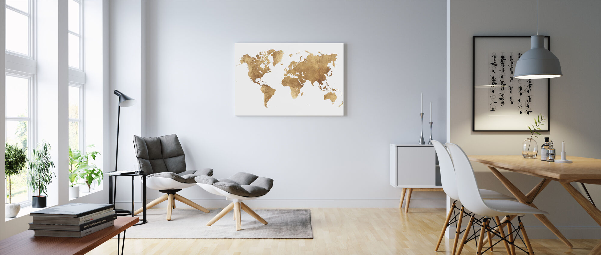 World Map Brushed Metal - Canvas print - Living Room