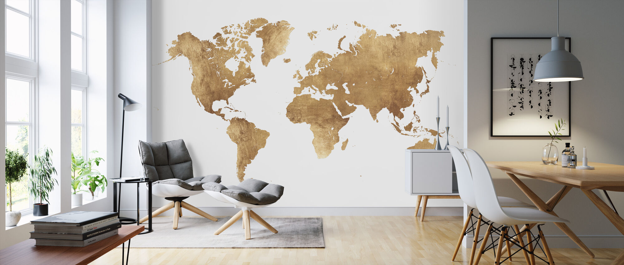 World Map Brushed Metal - Wallpaper - Living Room