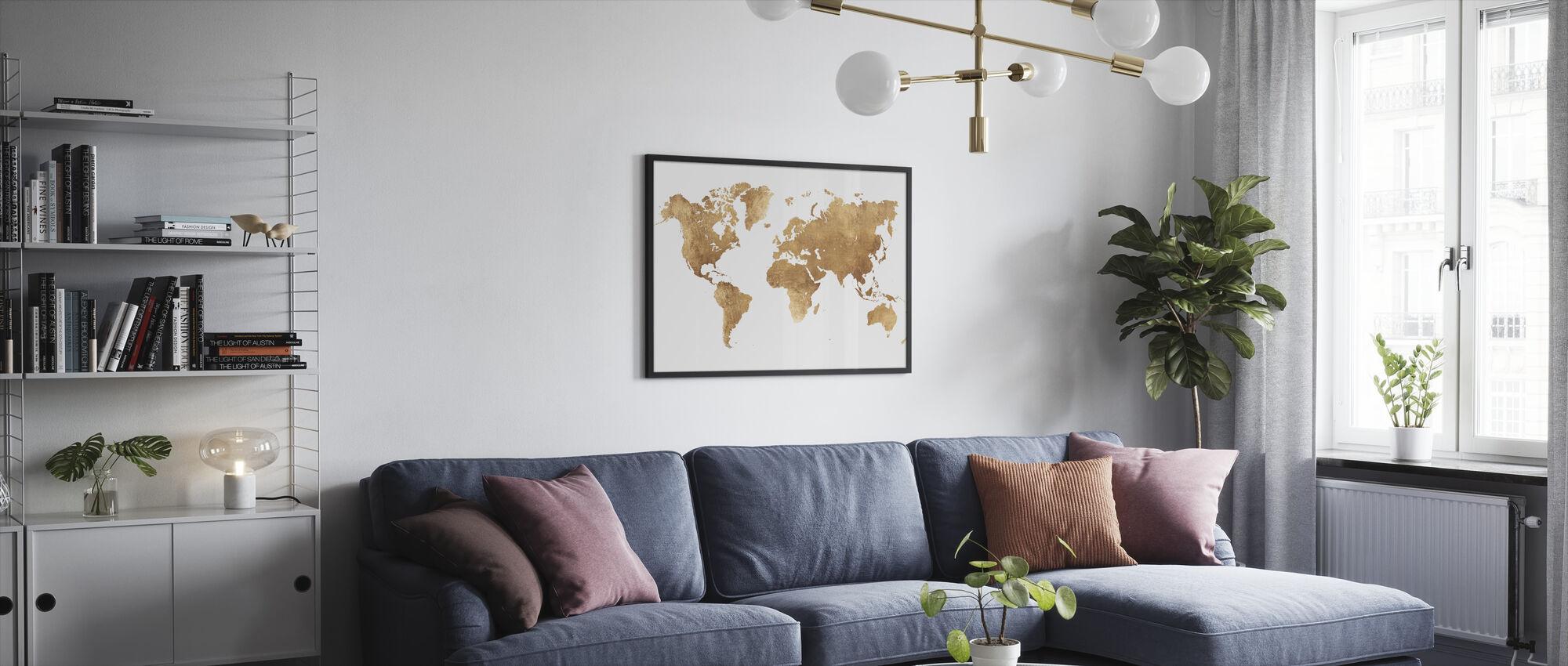Maailmankartta Harjattu metalli - Kehystetty kuva - Olohuone