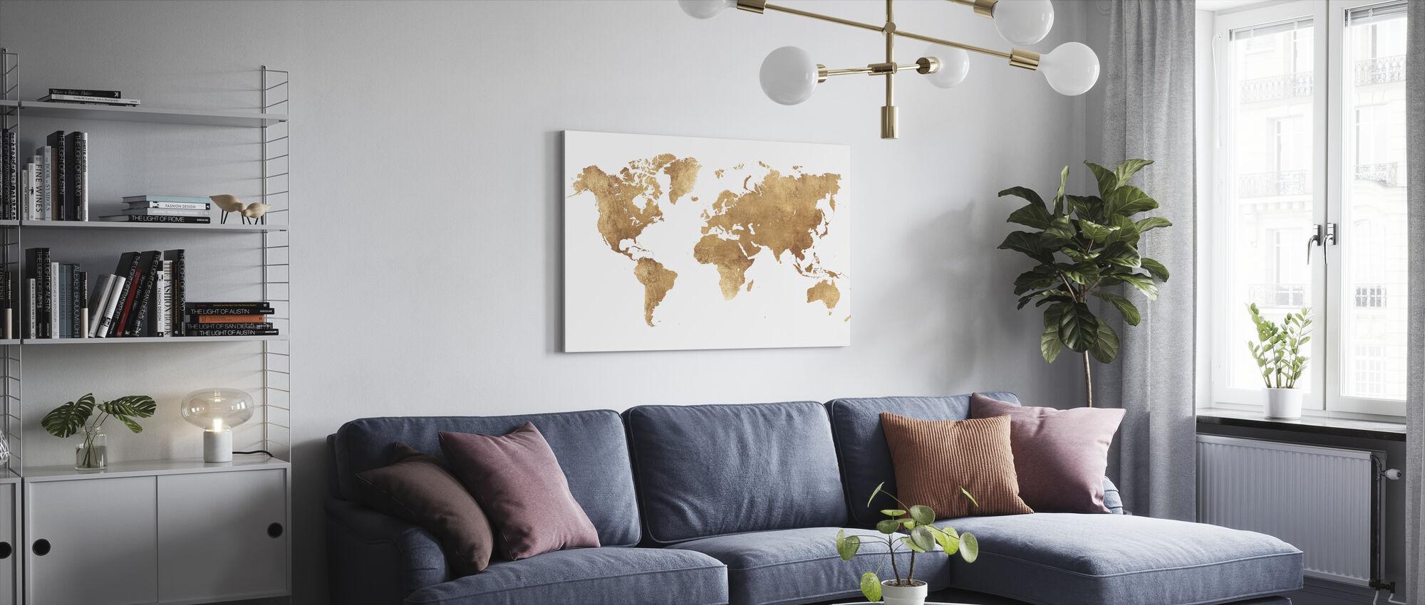 Världskarta borstad metall - Canvastavla - Vardagsrum