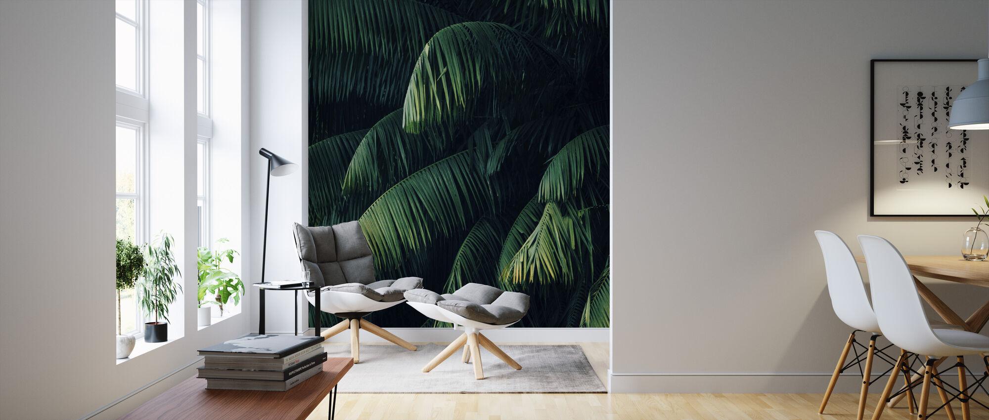 Tropische palmbladeren - Behang - Woonkamer
