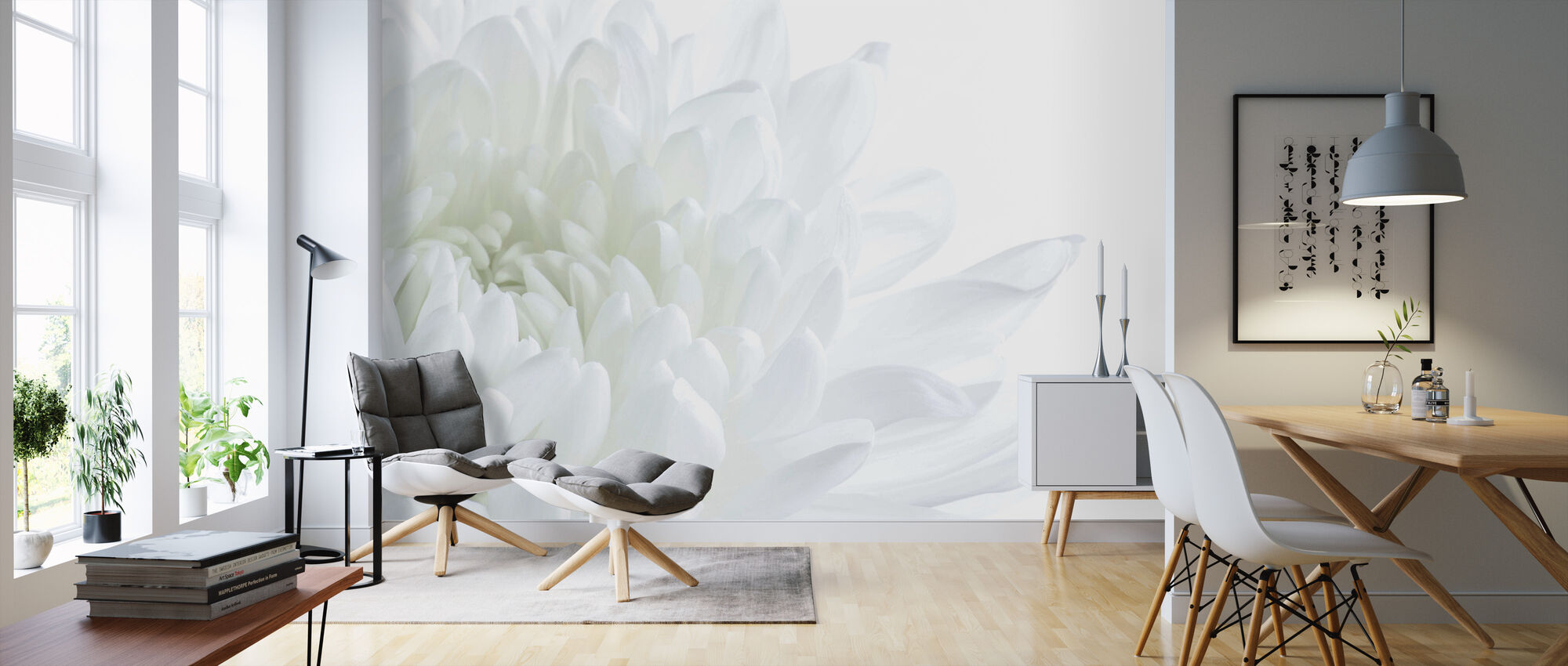 White Flower Blossom - Wallpaper - Living Room