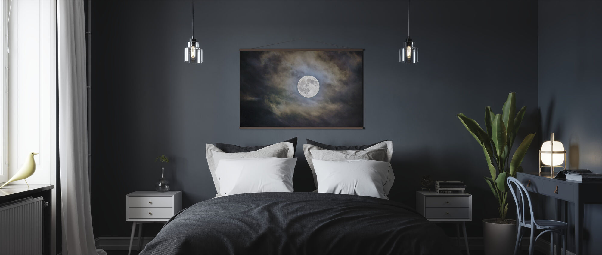 Cloudy Moon - Poster - Bedroom